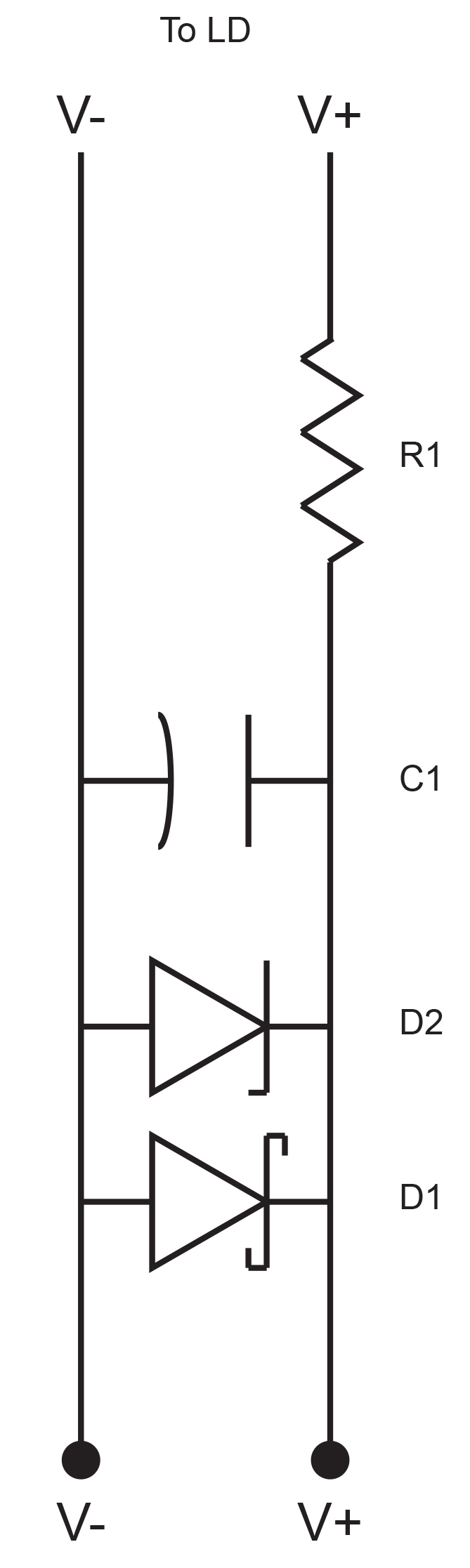 laser diode protection circuit  example protection circuit for the laser  diode current  r1 and c1 form a basic rc circuit and will filter out high  frequency