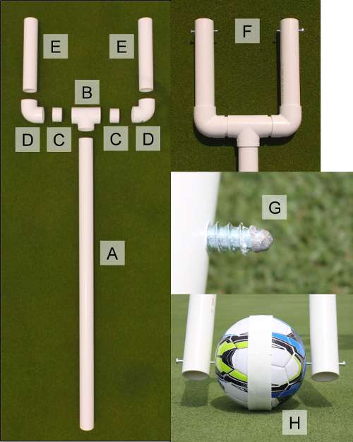 Figure 3: Soccer ball roller. Excluding A to B, all junctions are glued  with PVC adhesive. Part C length can vary by supplier due to varying  dimensions of ...