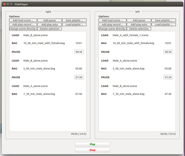 e2e5c5b38ad Figure 5  Screenshot showing the FishPlayer playlists for the left and  right monitors in the second part (observation period and second  mate-choice test) of ...